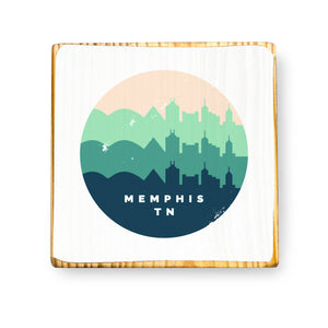 Memphis Retro Skyline - Wood Art