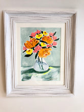 Load image into Gallery viewer, flora vase blue - framed original