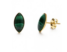 Load image into Gallery viewer, Malachite Navette Studs