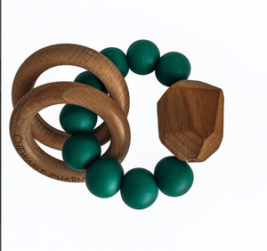 Silicone + Wooden Teether- Peacock