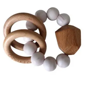 Silicone + Wooden Teether- Rose Quartz