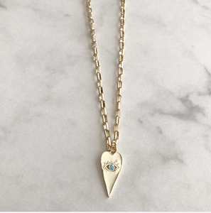 Turquoise Evil Eye Heart Necklace