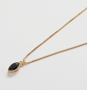 Black Cz Teardrop Necklace
