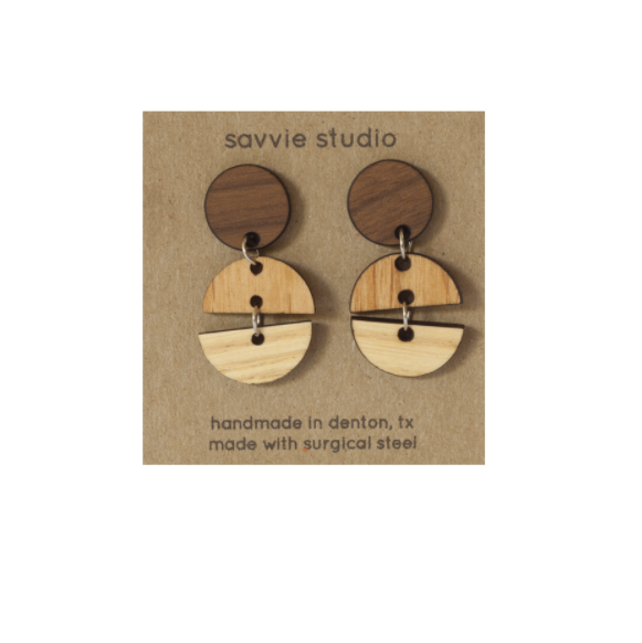 multi wooden earrings