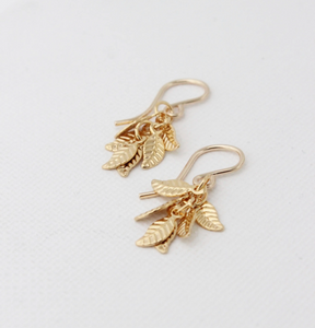 Delicate Textured Leaves Cluster Earrings