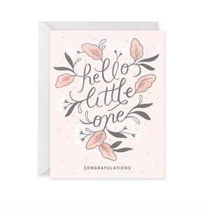 Pink Hello Little One Card