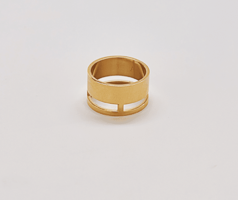 Gold Geo Wide Bar Ring size 7
