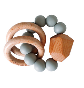 Silicone + Wooden Teether- Grey