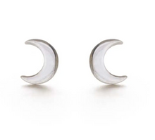 Load image into Gallery viewer, Sterling Silver Crescent Moon Stud