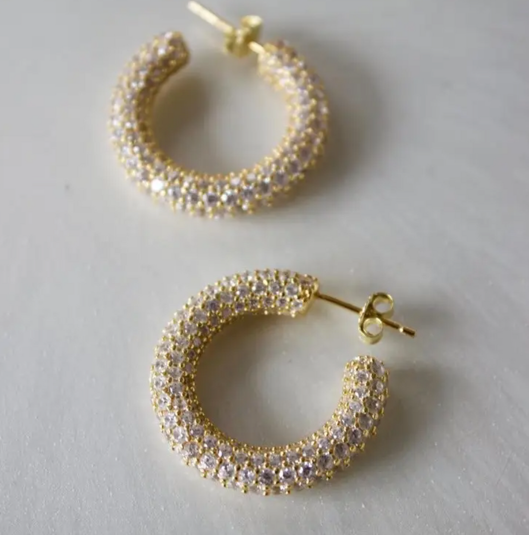THICK CZ PAVE HOOP EARRINGS