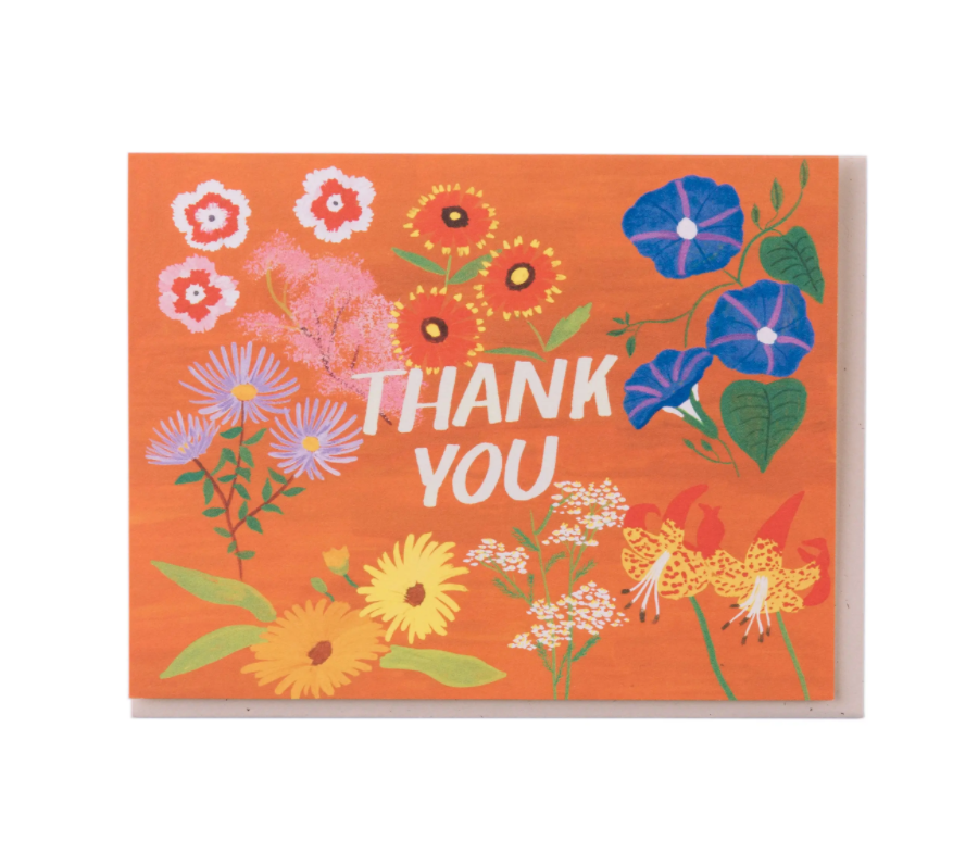 Rusty Orange Floral Thank You Card
