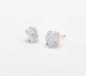 Aquamarine Quartz Gold Claw Stud