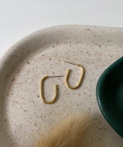 Small Oblong Hoops- Brass
