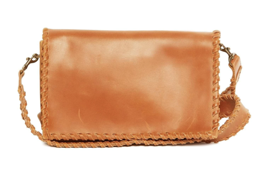 Able Whipstitch Cognac Crossbody