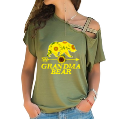 GRANDMA BEAR Cross Shoulder T-shirt