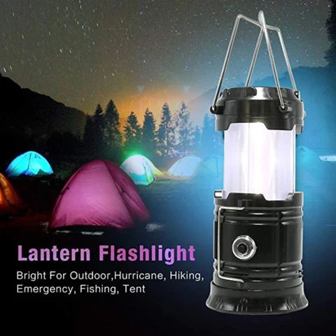 3-in-1 Camping Lantern,Portable Outdoor LED Flame Lantern Flashlight