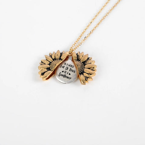 """IN A WORLD FULL OF ROSES - BE A SUNFLOWER""- SUNFLOWER NECKLACE + FREE GIFT BOX"
