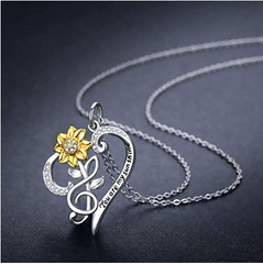 SUNFLOWER NECKLACE 925 STERLING SILVER