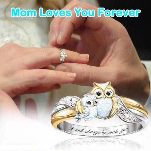 Cute Keep Going Owl Crystal Ring