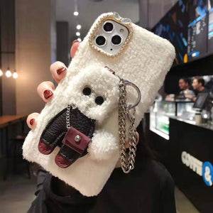 Delicate Cute Teddy Plush Phone Case For iPhone