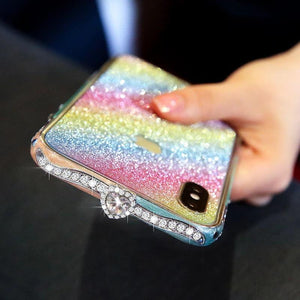 2019 Luxury Crystal bling Anti-fall border case for IPHONE(Free Bling Crystal IPhone Film)