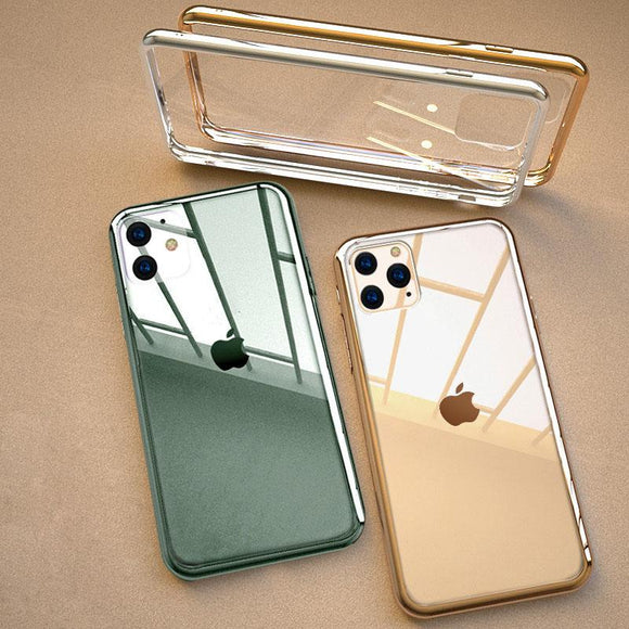 2019 Newest High Quality 9D Tempered Glass Soft Plating Frame Strong Fall Protection Phone Case For iPhone
