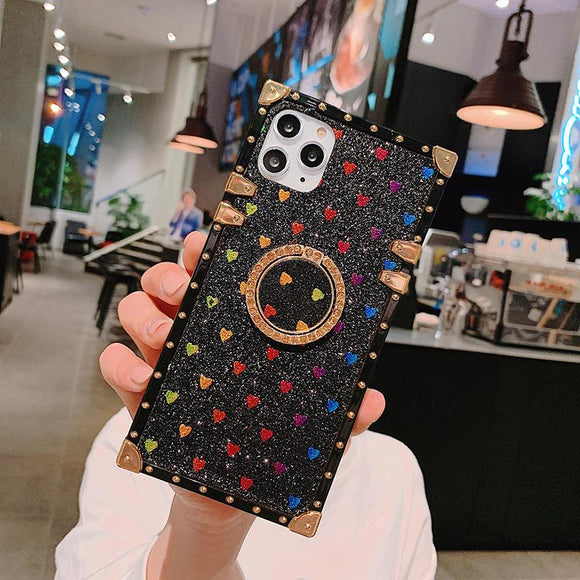 High Quality Luxury Love pattern Ring Phone Case For iPhone