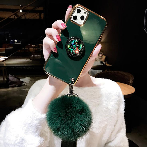 2019 All-inclusive Plating Hairball Lanyard Diamond Holder Phone Case For iPhone