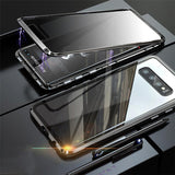 Anti-Peeping Privacy Magnetic Adsorption Two Side Tempered Glass Phone Case For Samsung Series