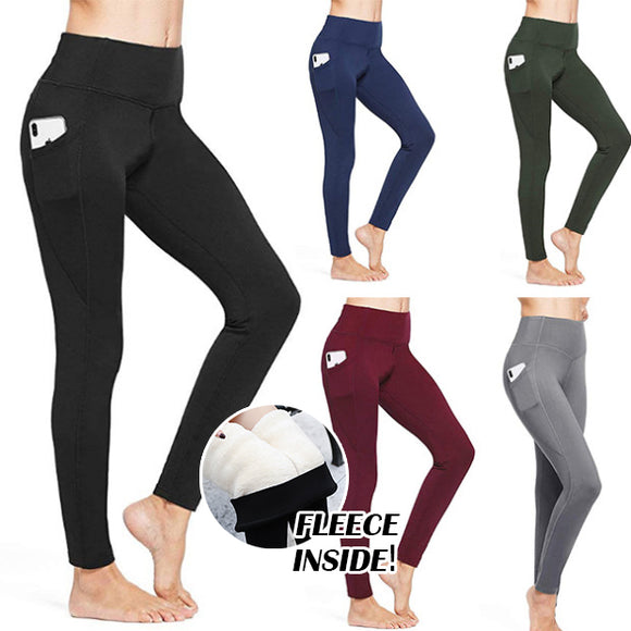 Women's Fleece Panties Winter Yoga Panties Warm High Waist Pocket Pants(buy 3 get free shipping)