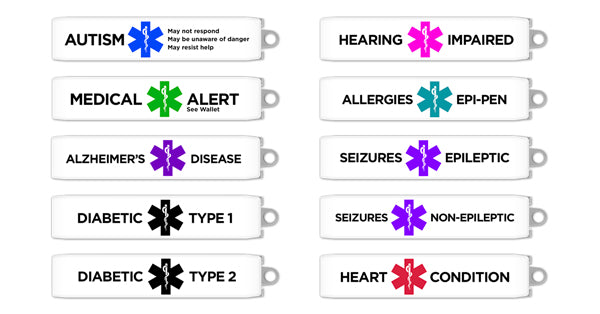Keyport Medical Alert Clip options include Autism, Allergy, Alzheimer's, Diabetes, Hearing Impaired, Heart Condition, See Wallet, and Seizures