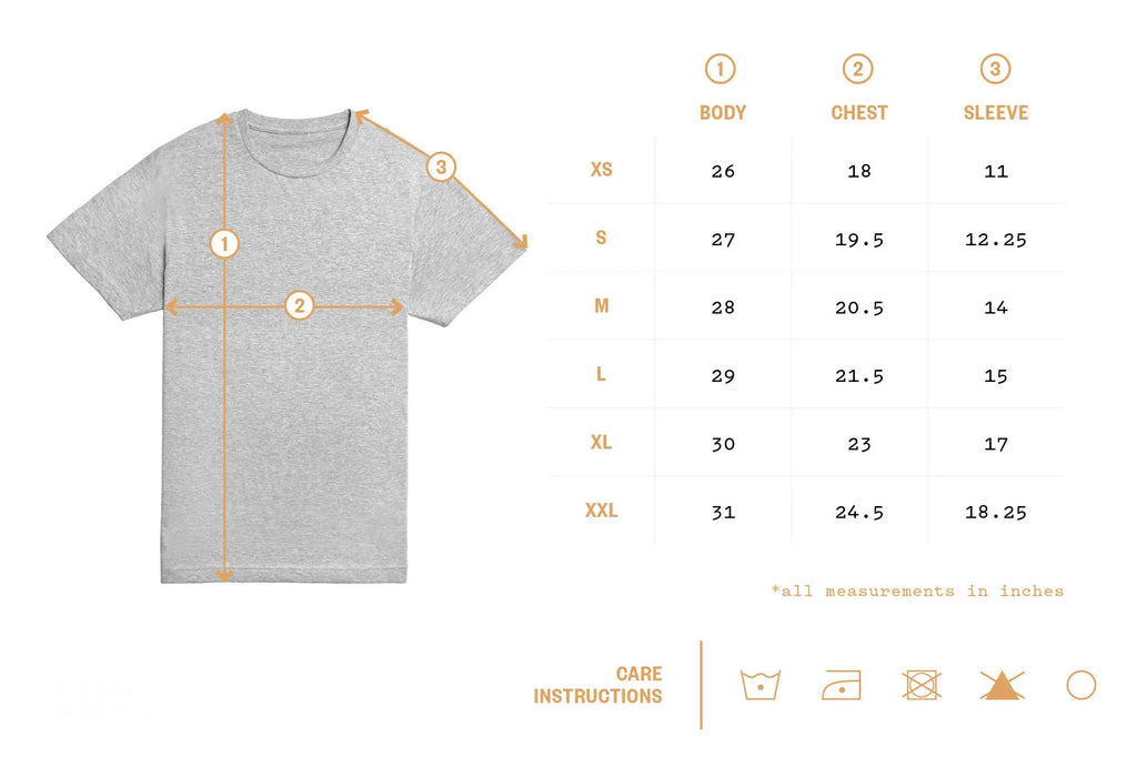 Size Chart for Raw Edge Shirts, Hoodies + Graphic Tees