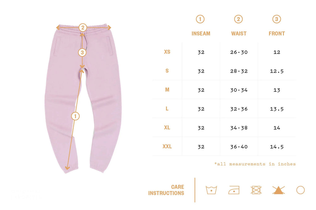 Size Chart for Joggers/Sweatpants