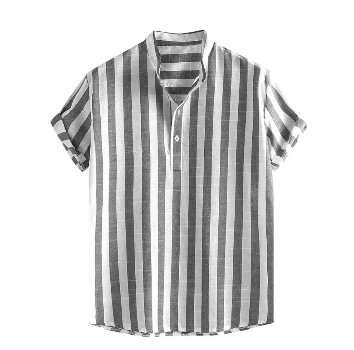 The Striped Linen Henley Shirt - Up to Size XXXL