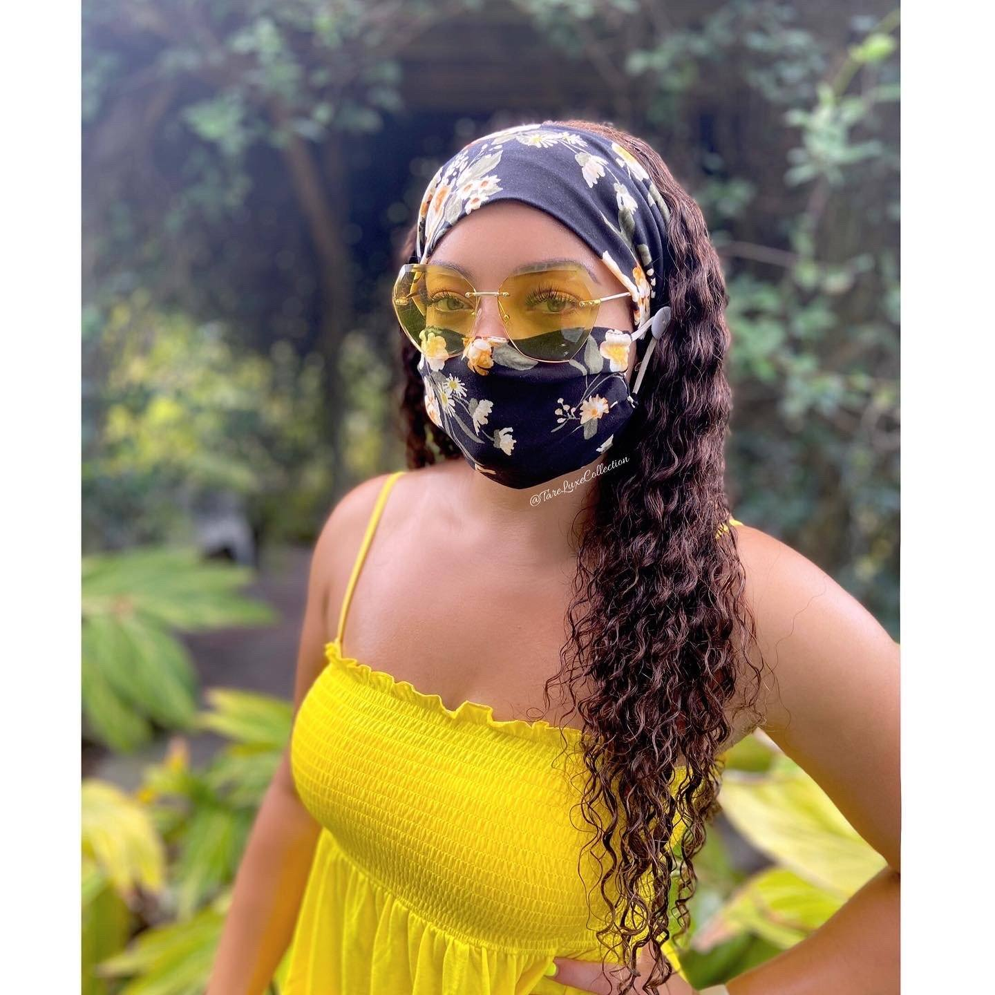 Black Daffodil Headband and Mask Set – Tarè Luxe Collection