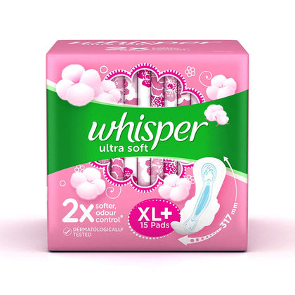 Whisper Ultra Soft Xl Plus 15 Pieces - Anytimeneeds