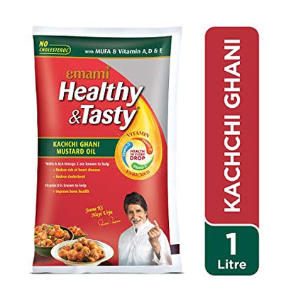 Emami Kachi Ghani Mustard Oil Pouch 1 Ltr - Anytimeneeds