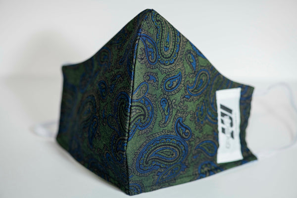 Emerald Paisley Reversible Mask