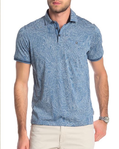 Leaf Print Cotton Polo Shirt