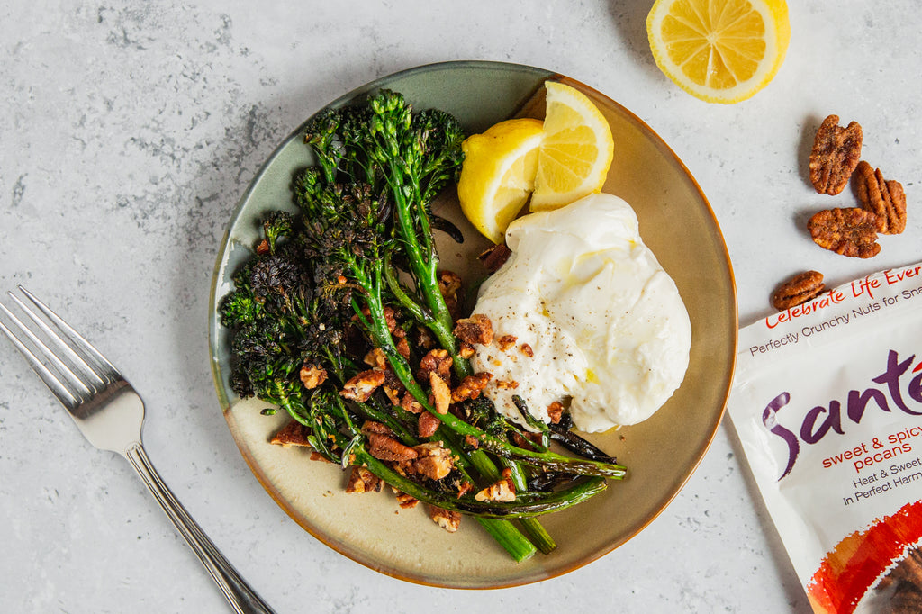 Santé Nuts - Charred Broccolini with Burrata and Sweet & Spicy Pecans | Recipe