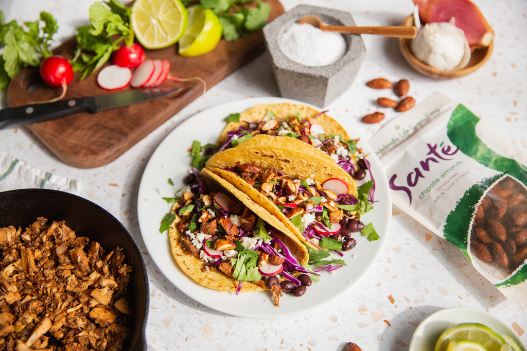 Santé Nuts - Crispy Jackfruit Tacos with Chipotle Almonds - Recipe