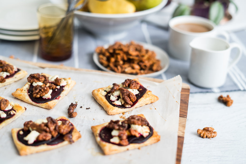 Santé Nuts - Beet, Goat Cheese, and Walnut Tarts