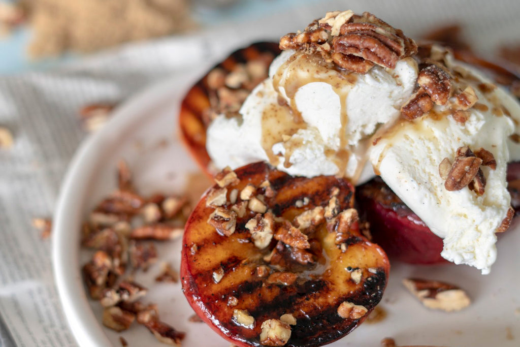Santé Nuts - Grilled Brown Butter and Bourbon Peaches - Recipe