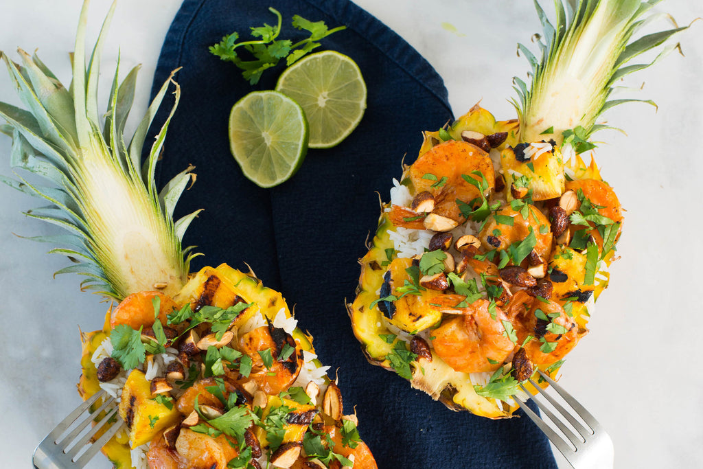 Grilled Shrimp and Pineapple Rice Bowls
