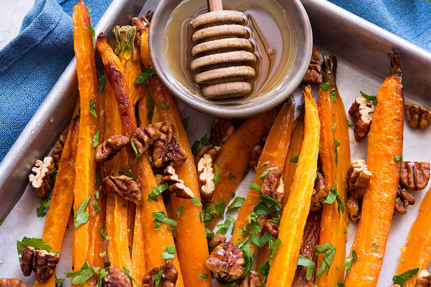 Honey Glazed Carrots with Candied Pecans