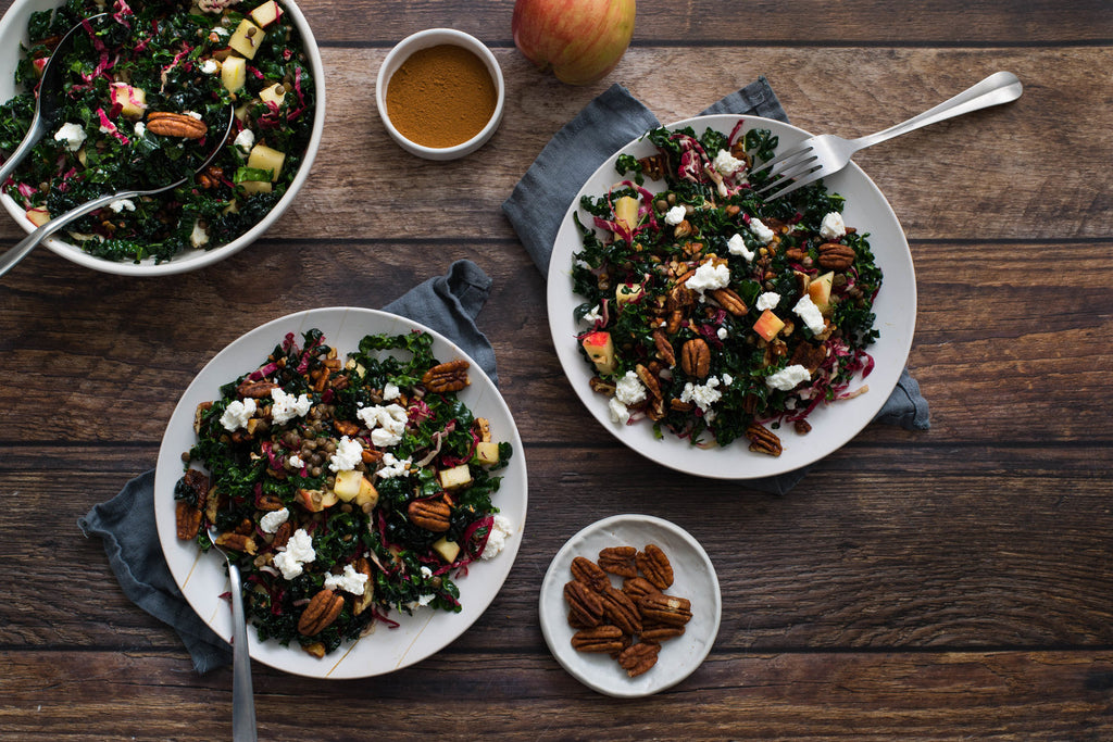 Santé Nuts - Kale and Lentil Salad with Pecans and Goat Cheese - Recipe