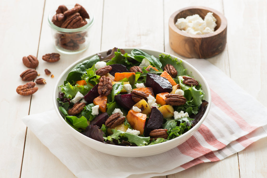 Roasted Beet Sweet Potato Parsnip Salad with Sweet and Spicy Pecans