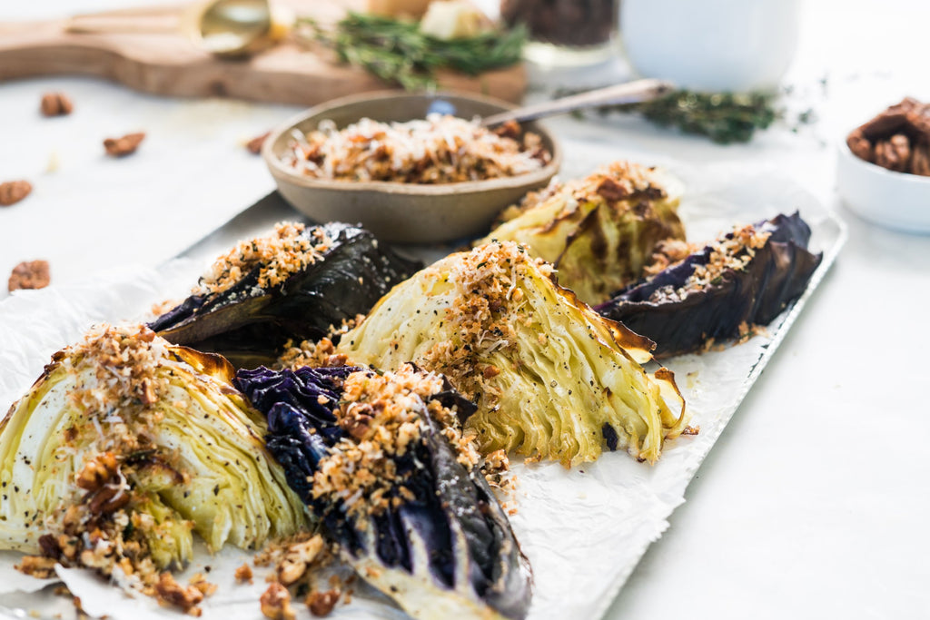 Roasted Cabbage Wedges with Pecan Crumble