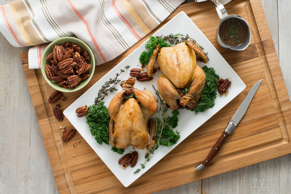 Roasted Cornish Hens with Kale and Pecan Stuffing