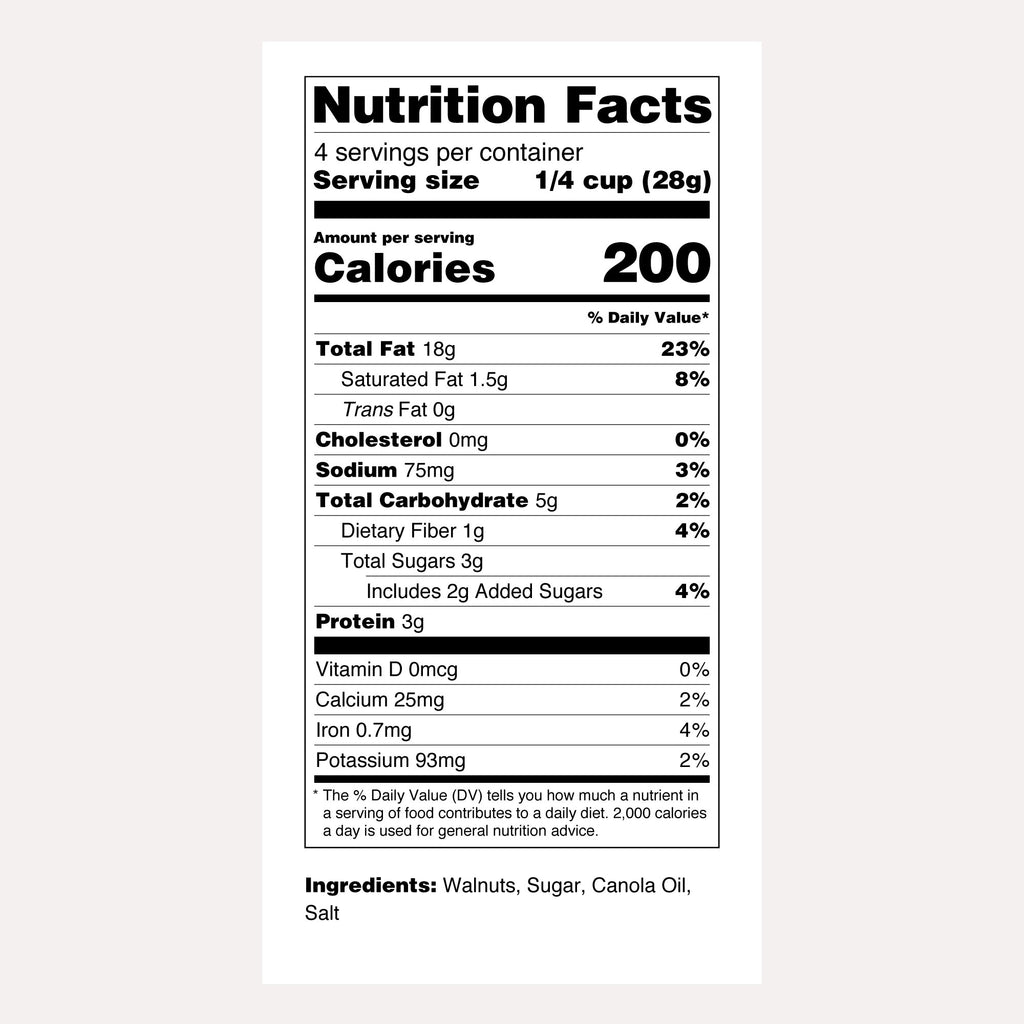 Santé Nuts | Candied Walnuts | Nutrition Facts